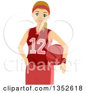 Clipart Of A Caucasian Teenage Female Basketball Player In Uniform Royalty Free Vector Illustration by BNP Design Studio