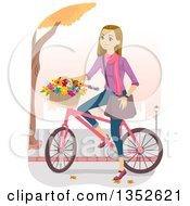 Clipart Of A Happy Caucasian Teenage Girl Riding A Bike With A Basket Of Flowers Royalty Free Vector Illustration by BNP Design Studio