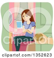 Clipart Of A Mad Brunette Caucasian Teenage Girl Being Grounded And Shut In Her Room Royalty Free Vector Illustration by BNP Design Studio