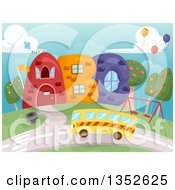 Clipart Of A School Bus Approaching A Building Of ABC Royalty Free Vector Illustration by BNP Design Studio