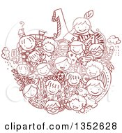 Clipart Of A Sketched Apple Formed Of Children And School Items Royalty Free Vector Illustration