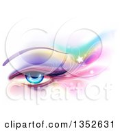 Clipart Of A Blue Female Eye With Colorful Eye Shadow Flares And Stars Over White Royalty Free Vector Illustration