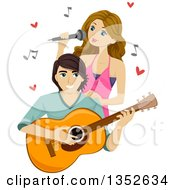 Clipart Of A Teenage Couple Singing And Playing A Guitar Royalty Free Vector Illustration