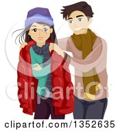 Clipart Of A Teenage Boyfriend Giving His Girlfriend His Jacket Royalty Free Vector Illustration