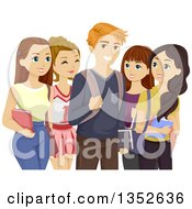 Clipart Of A Popular Teenage Boy Surrounded By Girls Royalty Free Vector Illustration by BNP Design Studio