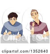 Clipart Of An Annoying Teenage Student Looking Over Another Guys Paper Royalty Free Vector Illustration by BNP Design Studio
