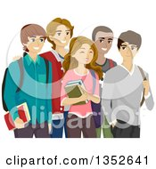 Clipart Of A Group Of Happy High School Guys Around A Pretty Girl Royalty Free Vector Illustration