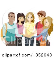 Clipart Of A Group Of Happy High School Students With Their Hands In A Circle Royalty Free Vector Illustration