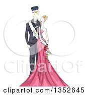 Clipart Of A Sketched Homecoming Queen And Queen Royalty Free Vector Illustration by BNP Design Studio