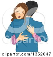 Clipart Of A Happy Brunette Caucasian Woman Hugging Her Boyfriend Or Husband Royalty Free Vector Illustration