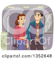 Clipart Of A Young Caucasian Couple Going To The Movies Royalty Free Vector Illustration