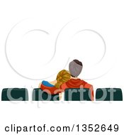 Clipart Of A Rear View Of A Teen Couple Cuddling At The Movies Under Text Space Royalty Free Vector Illustration by BNP Design Studio