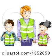 Clipart Of A Female Crosswalk Guard Holding Hands With Students Royalty Free Vector Illustration