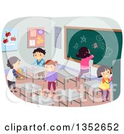 Clipart Of Students Cleaning A Classroom Royalty Free Vector Illustration