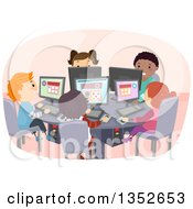 Clipart Of Students Using Computers In A Class Room Royalty Free Vector Illustration