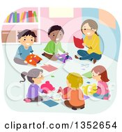 Clipart Of A Teacher And Children Making Masks In Art Class Royalty Free Vector Illustration