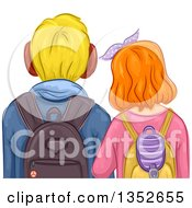 Clipart Of A Rear View Of A Caucasian Boy And Girl Student Couple Royalty Free Vector Illustration