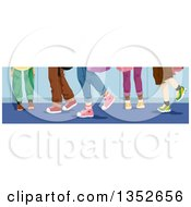 Clipart Of Legs Of School Kids Over Lockers Royalty Free Vector Illustration by BNP Design Studio