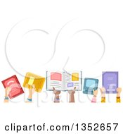 Clipart Of A Row Of Child Hands Holding Up Books Under Text Space Royalty Free Vector Illustration
