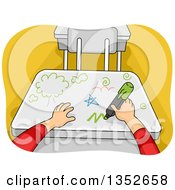 Cartoon Student Hands Writing On A Desk