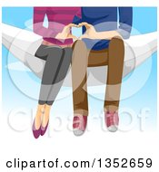 Clipart Of A View Of A Young Couple From The Chest Down Sitting In A Hammoc And Using Their Hands To Form A Heart Over Sky Royalty Free Vector Illustration