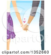 Clipart Of A View Of A Couple Holding Hands With Hearts Over Blue Royalty Free Vector Illustration