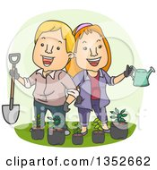 Clipart Of A Cartoon Happy Caucasian Couple Holding A Shovel And Watering Can Over Potted Seedling Plants Royalty Free Vector Illustration