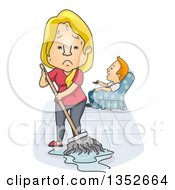 Poster, Art Print Of Cartoon Tired And Angry Caucasian Wife Mopping While Her Husband Watches Tv