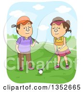 Clipart Of A Cartoon Brunette Caucasian Man Teaching His Wife How To Golf Royalty Free Vector Illustration by BNP Design Studio