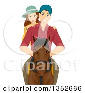 Clipart Of A Happy Caucasian Couple Horse Back Riding Royalty Free Vector Illustration