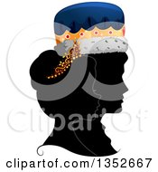 Clipart Of A Grayscale Profile Silhouette Of A King And Queen With Colored Crowns Royalty Free Vector Illustration