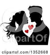 Clipart Of A Black Silhouetted Young Couple About To Kiss Around Red Hearts Royalty Free Vector Illustration