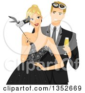 Clipart Of A Blond Caucasial Couple At A Formal Masquerade Ball Royalty Free Vector Illustration by BNP Design Studio