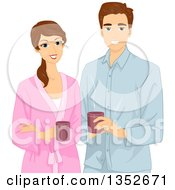 Clipart Of A Happy Brunette Caucasian Couple In Robes Holding Coffee Mugs Royalty Free Vector Illustration by BNP Design Studio