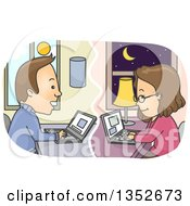 Clipart Of A Cartoon Happy Brunette White Couple Chatting Online Royalty Free Vector Illustration