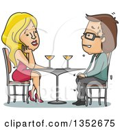 Clipart Of A Cartoon Sexy Blond Caucasian Woman Attracted To A Nervous Sweating Man On A Date Royalty Free Vector Illustration by BNP Design Studio