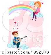 Young Man Playing A Guitar For A Girl Sitting On A Rainbow Over Pink
