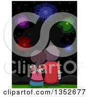 Clipart Of A Rear View Of A Young Couple Sitting And Watching Fireworks Royalty Free Vector Illustration