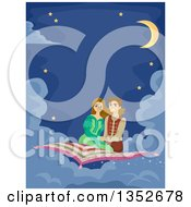 Clipart Of A Young Couple On A Magic Carpet Ride Royalty Free Vector Illustration by BNP Design Studio