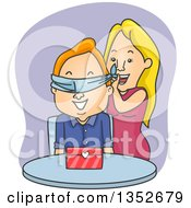 Cartoon Valentine Couple The Woman Surprising The Man With A Gift