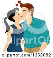 Clipart Of A Sweet Woman Kissing A Happy Man Royalty Free Vector Illustration