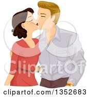 Clipart Of A Sweet Middle Aged Couple Kissing Royalty Free Vector Illustration by BNP Design Studio