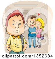 Clipart Of A Cartoon Annoyed Teenage Boy By An Affectionate Couple In An Elevator Royalty Free Vector Illustration
