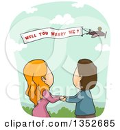 Clipart Of A Plane Flying A Proposal Banner Under A Cartoon Couple Royalty Free Vector Illustration