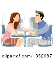 Clipart Of A Man And Woman Asking Questions At A Speed Dating Event Royalty Free Vector Illustration