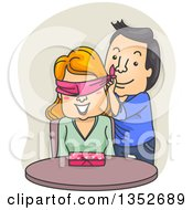 Cartoon Valentine Couple The Man Surprising The Woman With A Gift