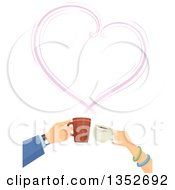 Clipart Of Hands Of A Caucasian Couple Clinking Coffee Cups Under A Steam Heart Royalty Free Vector Illustration