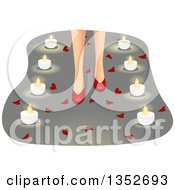 Clipart Of A Womans Feet In Red High Heels Surrounded By Hearts And Candles Royalty Free Vector Illustration by BNP Design Studio