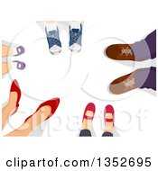 Clipart Of A Group Of Family Feet In A Circle Royalty Free Vector Illustration