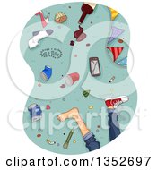 Clipart Of A Boys Legs And A Mess On A Floor After A Party Royalty Free Vector Illustration
